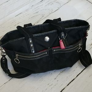 Coach Diaper Bag in Black and Pink